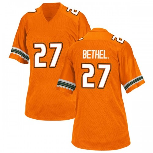 Women's Adidas Nigel Bethel Jr. Miami Hurricanes Replica Orange Alternate College Jersey