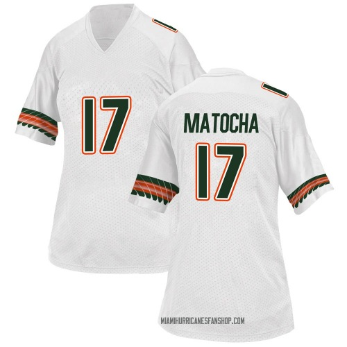 Women's Adidas Peyton Matocha Miami Hurricanes Replica White Alternate College Jersey