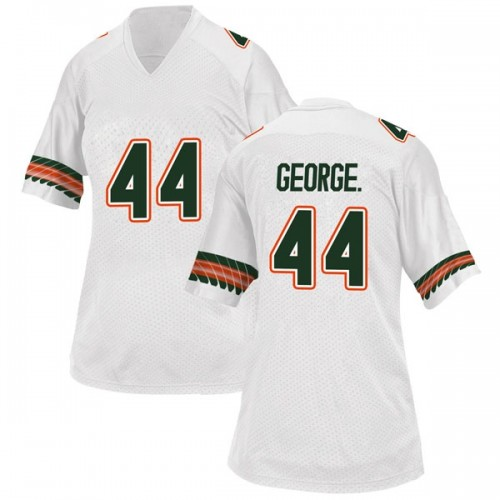 Women's Adidas Realus George Jr. Miami Hurricanes Replica White Alternate College Jersey