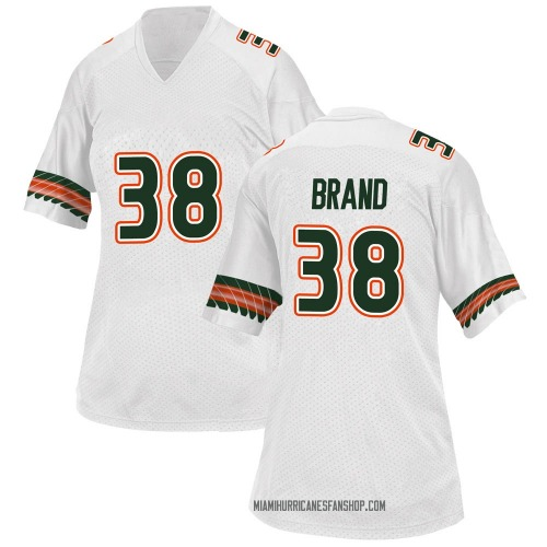 Women's Adidas Robert Brand Miami Hurricanes Replica White Alternate College Jersey