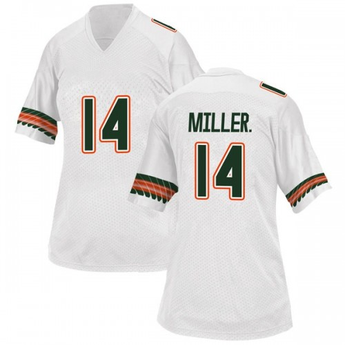 Women's Adidas Rodney Miller Jr. Miami Hurricanes Game White Alternate College Jersey