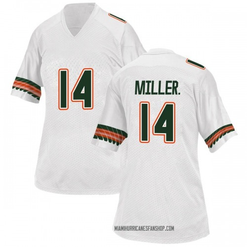 Women's Adidas Rodney Miller Jr. Miami Hurricanes Replica White Alternate College Jersey