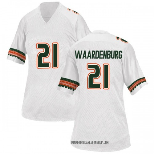 Women's Adidas Sam Waardenburg Miami Hurricanes Game White Alternate College Jersey