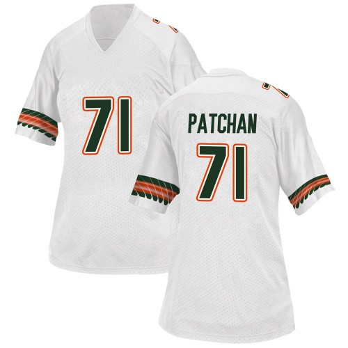 Women's Adidas Scott Patchan Miami Hurricanes Replica White Alternate College Jersey