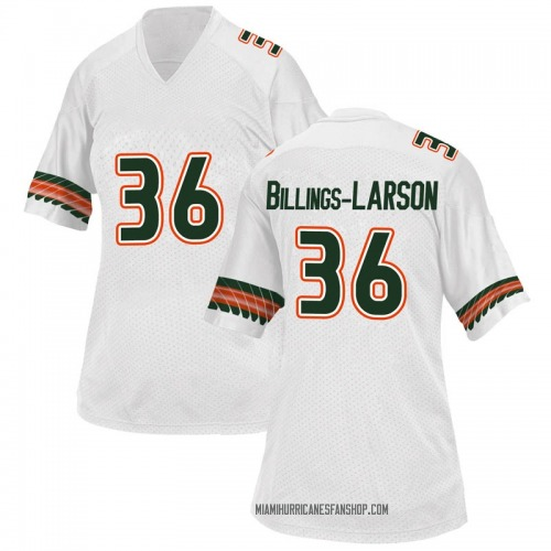 Women's Adidas Steven Billings-Larson Jr. Miami Hurricanes Game White Alternate College Jersey