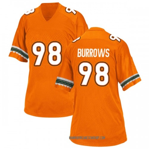 Women's Adidas Suleman Burrows Miami Hurricanes Replica Orange Alternate College Jersey