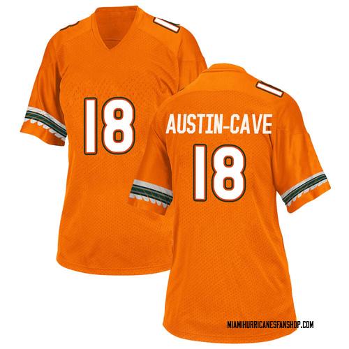Women's Adidas Tirek Austin-Cave Miami Hurricanes Game Orange Alternate College Jersey