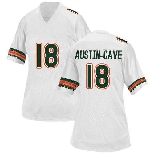 Women's Adidas Tirek Austin-Cave Miami Hurricanes Game White Alternate College Jersey