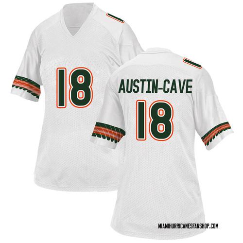 Women's Adidas Tirek Austin-Cave Miami Hurricanes Replica White Alternate College Jersey