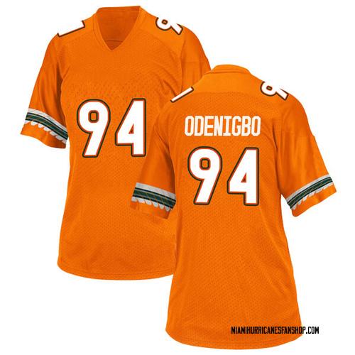 Women's Adidas Tito Odenigbo Miami Hurricanes Replica Orange Alternate College Jersey