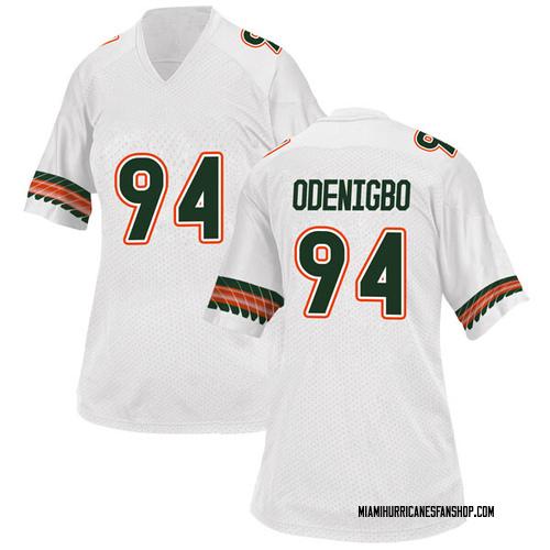 Women's Adidas Tito Odenigbo Miami Hurricanes Replica White Alternate College Jersey