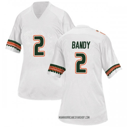 Women's Adidas Trajan Bandy Miami Hurricanes Game White Alternate College Jersey
