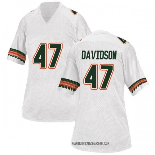 Women's Adidas Turner Davidson Miami Hurricanes Replica White Alternate College Jersey