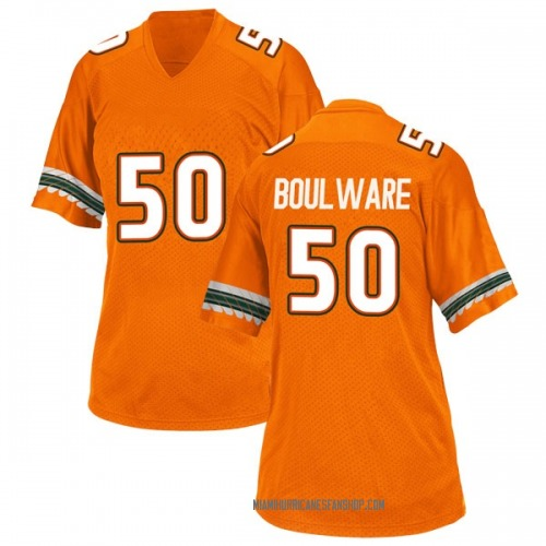 Women's Adidas Venzell Boulware Miami Hurricanes Game Orange Alternate College Jersey
