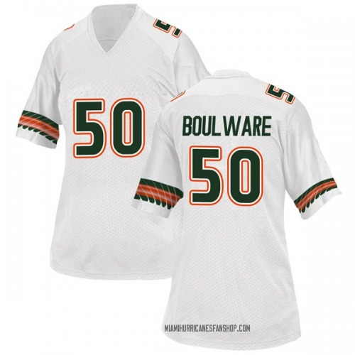 Women's Adidas Venzell Boulware Miami Hurricanes Replica White Alternate College Jersey