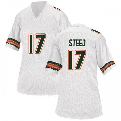 Women's Adidas Waynmon Steed Miami Hurricanes Replica White Alternate College Jersey