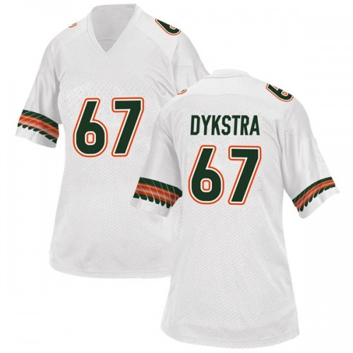 Women's Adidas Zach Dykstra Miami Hurricanes Replica White Alternate College Jersey