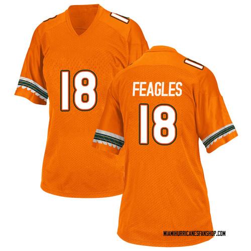 Women's Adidas Zach Feagles Miami Hurricanes Replica Orange Alternate College Jersey