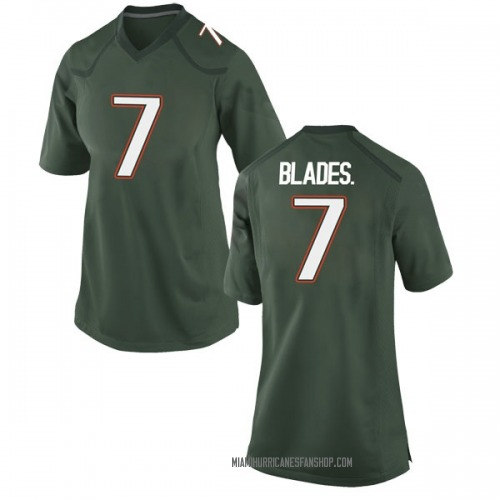 Women's Nike Al Blades Jr. Miami Hurricanes Game Green Alternate College Jersey