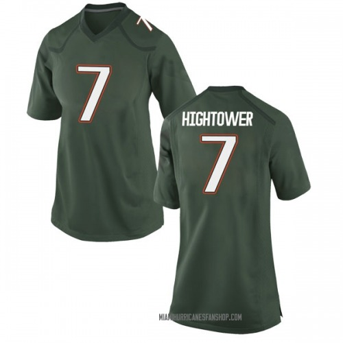 Women's Nike Brian Hightower Miami Hurricanes Game Green Alternate College Jersey