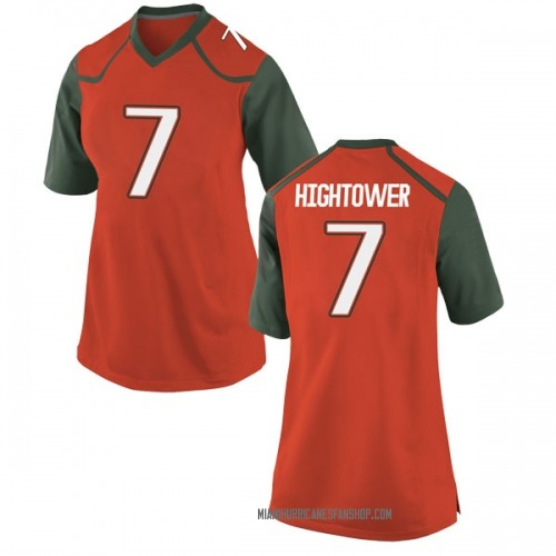 Women's Nike Brian Hightower Miami Hurricanes Replica Orange College Jersey