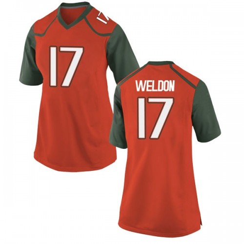 Women's Nike Cade Weldon Miami Hurricanes Replica Orange College Jersey