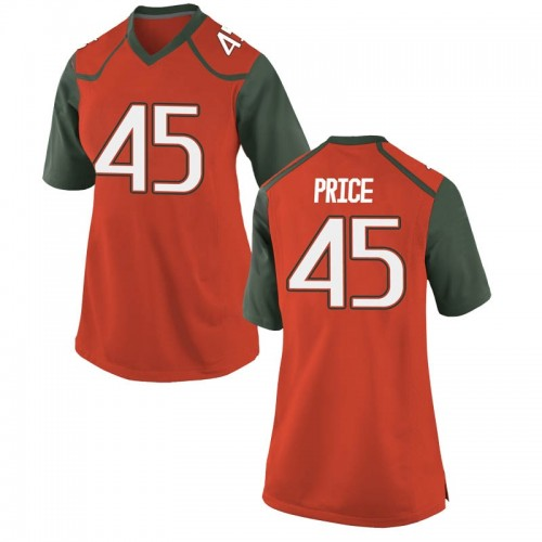 Women's Nike Camden Price Miami Hurricanes Game Orange College Jersey