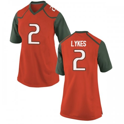Women's Nike Chris Lykes Miami Hurricanes Replica Orange College Jersey