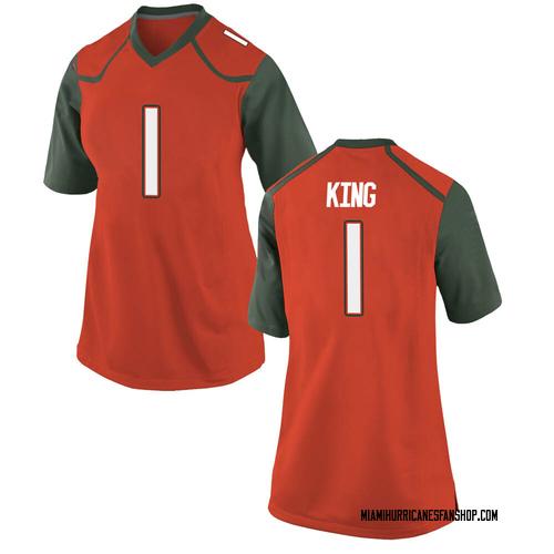 Women's Nike D'Eriq King Miami Hurricanes Replica Orange College Jersey
