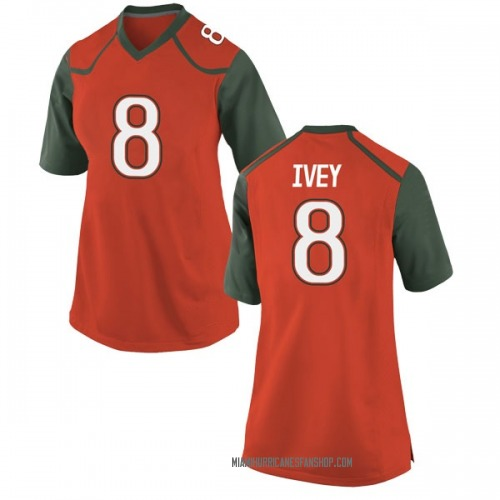 Women's Nike DJ Ivey Miami Hurricanes Game Orange College Jersey