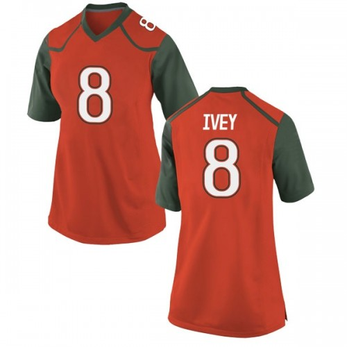 Women's Nike DJ Ivey Miami Hurricanes Replica Orange College Jersey