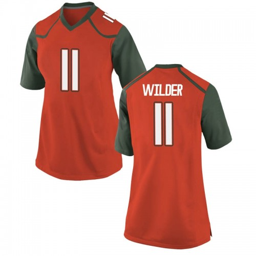 Women's Nike Deandre Wilder Miami Hurricanes Game Orange College Jersey