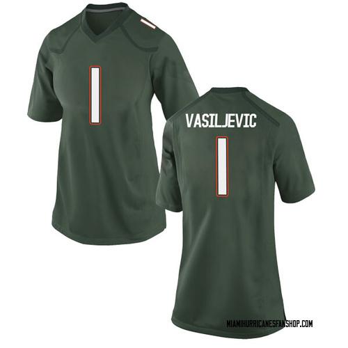 Women's Nike Dejan Vasiljevic Miami Hurricanes Game Green Alternate College Jersey