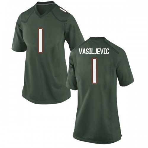 Women's Nike Dejan Vasiljevic Miami Hurricanes Replica Green Alternate College Jersey
