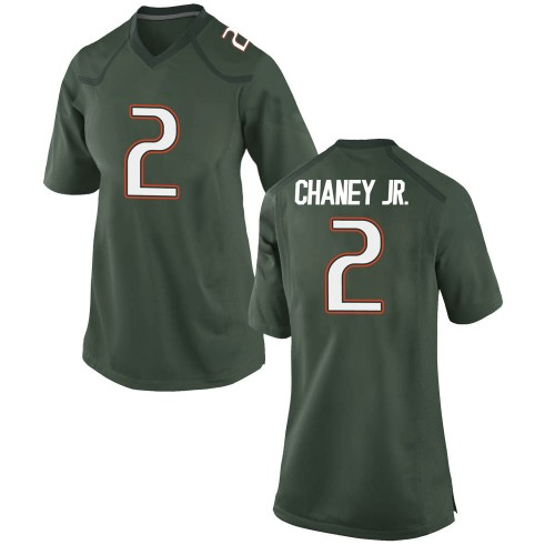 Women's Nike Donald Chaney Jr. Miami Hurricanes Game Green Alternate College Jersey