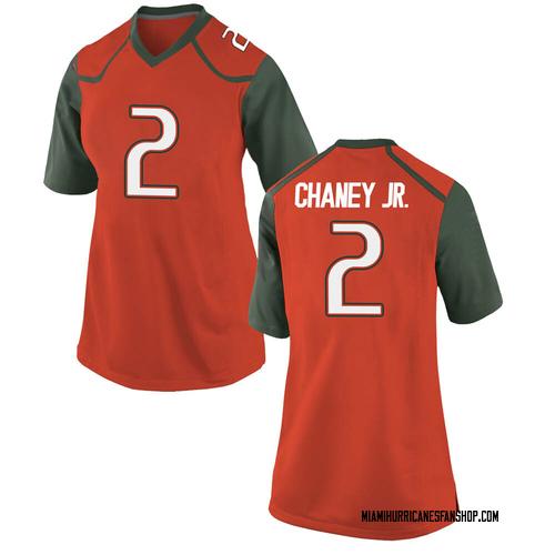 Women's Nike Donald Chaney Jr. Miami Hurricanes Game Orange College Jersey