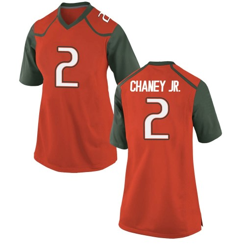 Women's Nike Donald Chaney Jr. Miami Hurricanes Replica Orange College Jersey