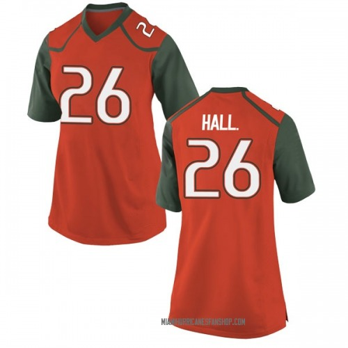 Women's Nike Gurvan Hall Jr. Miami Hurricanes Replica Orange College Jersey