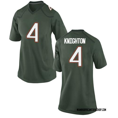 Women's Nike Jaylan Knighton Miami Hurricanes Game Green Alternate College Jersey