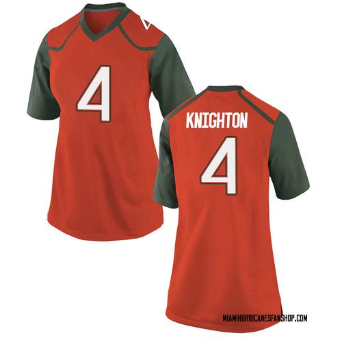 Women's Nike Jaylan Knighton Miami Hurricanes Game Orange College Jersey