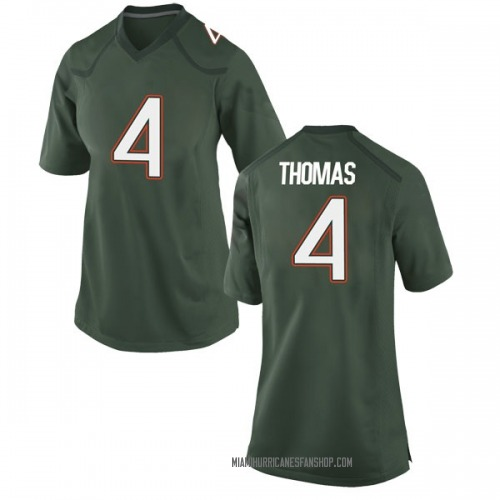 Women's Nike Jeff Thomas Miami Hurricanes Game Green Alternate College Jersey