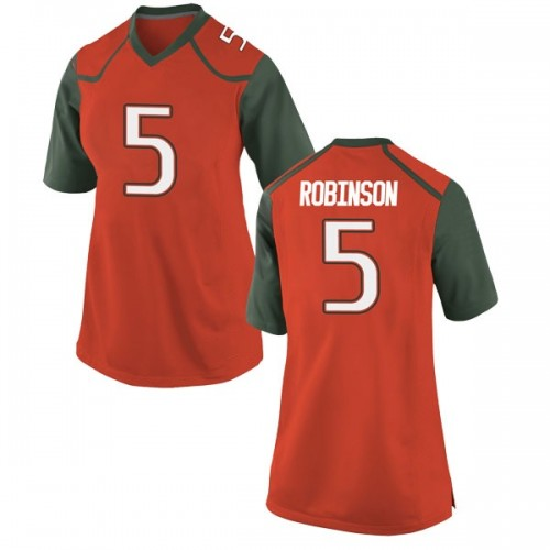 Women's Nike Mike Robinson Miami Hurricanes Game Orange College Jersey