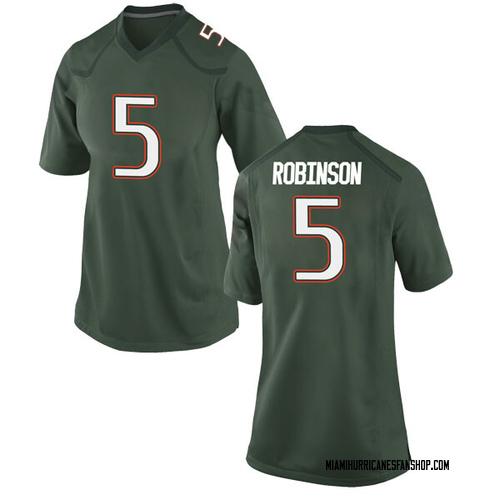 Women's Nike Mike Robinson Miami Hurricanes Replica Green Alternate College Jersey