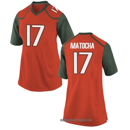 Women's Nike Peyton Matocha Miami Hurricanes Replica Orange College Jersey