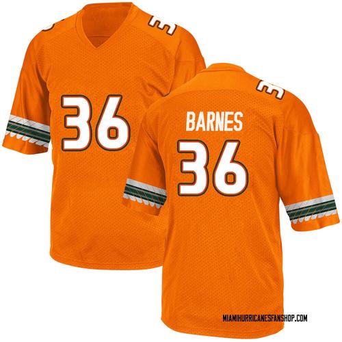 Youth Adidas Andrew Barnes Miami Hurricanes Replica Orange Alternate College Jersey