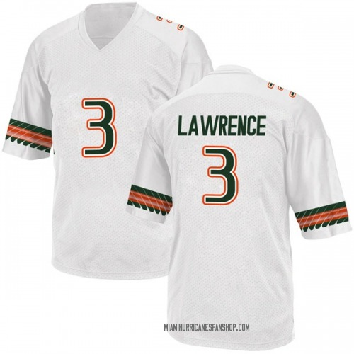 Youth Adidas Anthony Lawrence II Miami Hurricanes Game White Alternate College Jersey