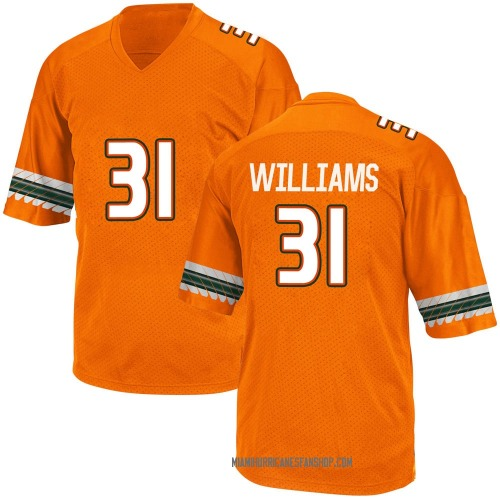 Youth Adidas Avantae Williams Miami Hurricanes Game Orange Alternate College Jersey