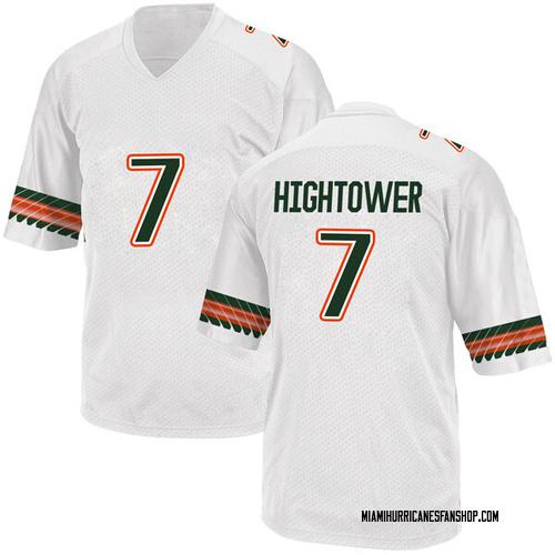 Youth Adidas Brian Hightower Miami Hurricanes Game White Alternate College Jersey