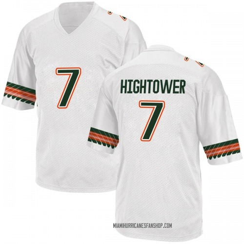 Youth Adidas Brian Hightower Miami Hurricanes Replica White Alternate College Jersey
