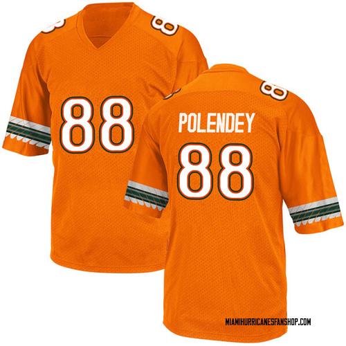 Youth Adidas Brian Polendey Miami Hurricanes Game Orange Alternate College Jersey